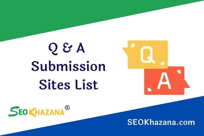 Q & A Submission Sites List